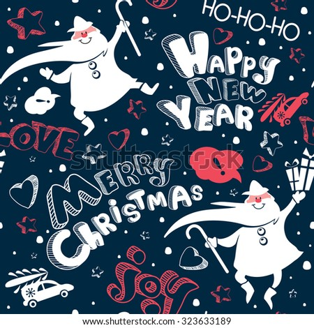Merry Christmas and Happy New year doodle seamless pattern with Santa Claus, car, heart and cheerful text in vector. Cute and lovely cartoon holiday poster. Template for  wrapping paper, banner, print - stock vector