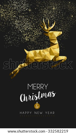 Merry christmas and happy new year fancy gold deer jumping in hipster triangle low poly style. Ideal for xmas card or elegant holiday party invitation. EPS10 vector. - stock vector