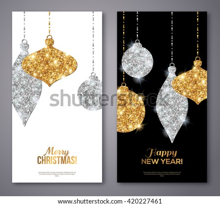 Merry Christmas and Happy New Year Flyers. Background with Silver and Gold Hanging Baubles. Vector illustration. Gold Glitter Texture. Sequins Pattern. Glowing Invitation Template.  - stock vector
