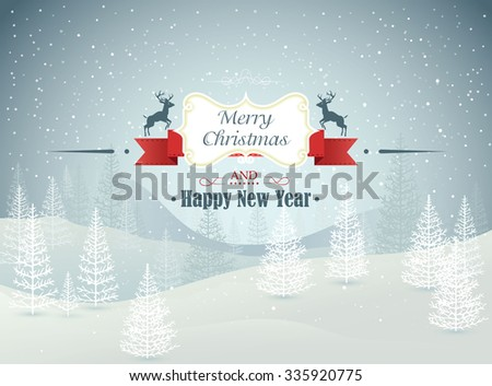 Merry Christmas and Happy New Year forest winter landscape with snowfall vector illustration - stock vector