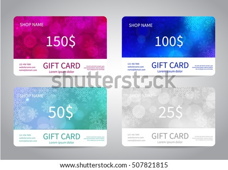 Giftcard stock images royalty free images vectors shutterstock merry christmas and happy new year gift card or discount card set with colorful bokeh lights negle Gallery