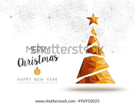 Merry christmas and happy new year gold xmas pine tree in low poly triangle style, holiday decoration card design. EPS10 vector.