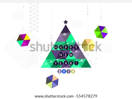 Merry christmas and happy new year green and violet xmas pine tree in geometric style, holiday decoration card design. EPS10 vector. Happy New Year 2018 !!!