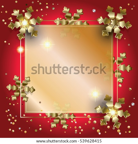 Merry Christmas and Happy New Year greeting card background with glitter, snowfall, sparkle, gold snowflakes and confetti. Christmas decoration, light effect vector illustration. Winter Holiday