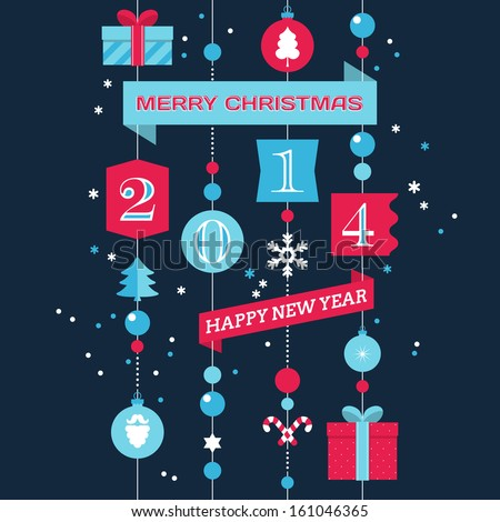 Merry Christmas and Happy New Year greeting card design. Vector illustration - stock vector