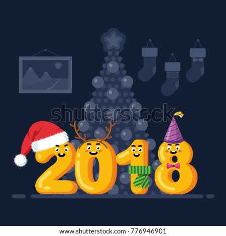 Merry Christmas And Happy New Year 2018 Greeting Card. Funny Numbers,  Characters With Santa