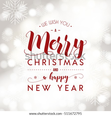 Merry Christmas and Happy New Year greeting card. Modern calligraphy lettering. Typographic vector design, beautiful light bokeh background, festive lights.