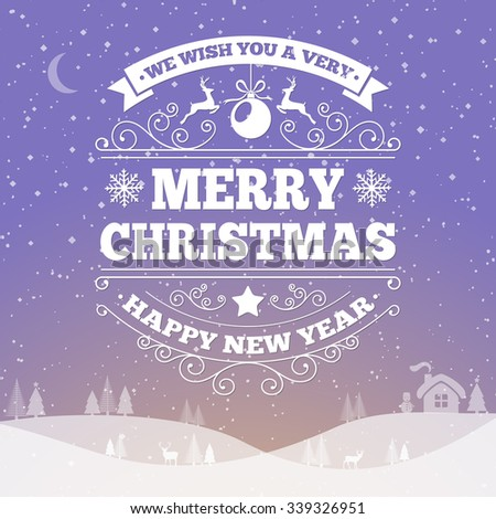 Merry Christmas and Happy New Year Greeting Card Template. Vector Illustration - stock vector