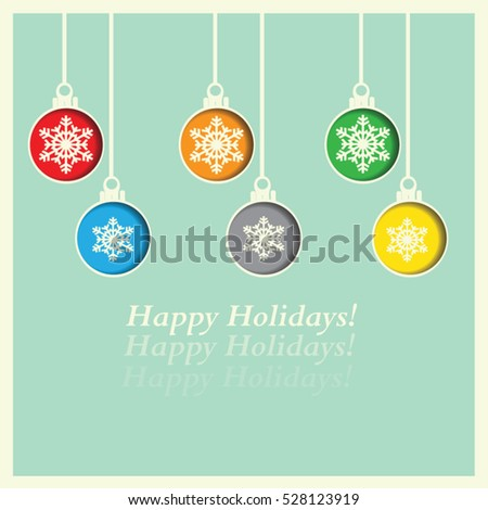 Merry Christmas and Happy New Year greeting card vector design with festive colorful ornaments hanging