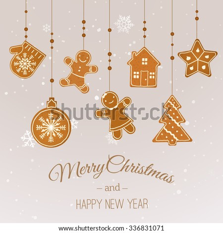 Merry Christmas and Happy New Year Greeting Card. Vector Illustration - stock vector