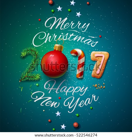 Merry christmas happy new year 2017 stock photo photo vector merry christmas and happy new year 2017 greeting card vector illustration m4hsunfo