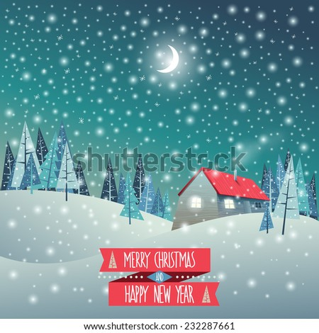 Merry Christmas and Happy New Year greeting card. Winter holidays landscape with snow covered village. Holidays vector illustration