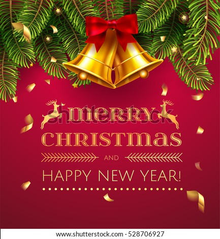 Merry christmas happy new year greeting stock vector hd royalty merry christmas and happy new year greeting card with chrirstmas decorations fir tree border gold m4hsunfo