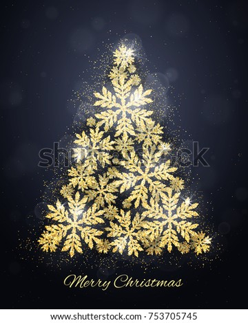 Merry Christmas and Happy New Year greeting card with gold glittering snowflakes Christmas tree on dark background. Winter seasonal holiday background