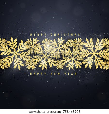 Merry Christmas and Happy New Year greeting card with gold glittering snowflakes frame on dark background. Winter seasonal holiday background