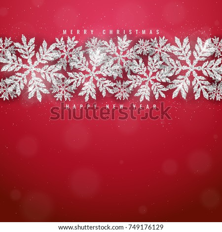Merry Christmas and Happy New Year greeting card with silver glittering snowflakes frame on red background
