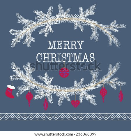 Merry christmas and happy new year greeting card wreath vector background - stock vector