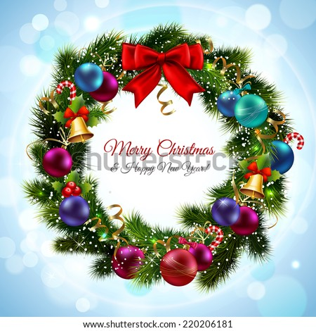 Merry christmas and happy new year greeting postcard with green wreath vector illustration - stock vector