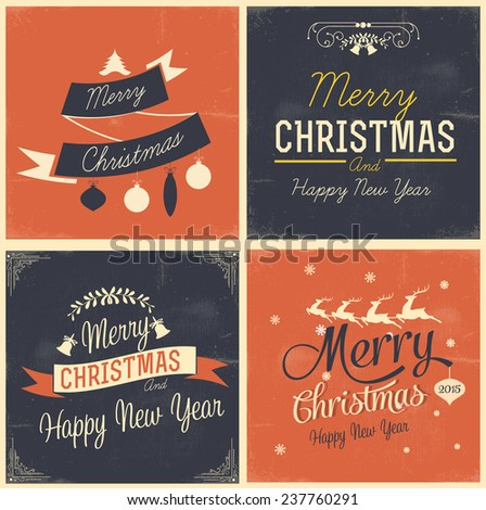 Merry Christmas and Happy New Year greeting vector card - stock vector