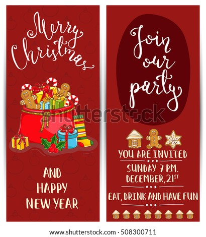 Christmas Card Vintage Design Vector Merry Stock Vector