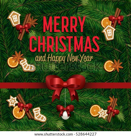Merry christmas happy new year greetings stock vector hd royalty merry christmas and happy new year greetings vector illustration xmas congratulation with christmas tree composition m4hsunfo