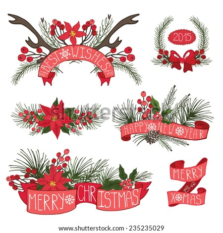 Merry Christmas and Happy New Year group,horns,border,flowers,spruce,ribbons.Flat decor elements for invitations,print,feb,card,banner.Festive vector - stock vector