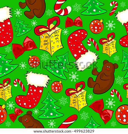 Merry Christmas and Happy New Year holiday background. Seamless patterns with bears, gifts and trees on green background. Vector illustration.