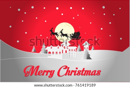 Merry Christmas and Happy New Year 2018. Illustration of Santa Claus on the sky coming to City ,paper art and craft style, vector design