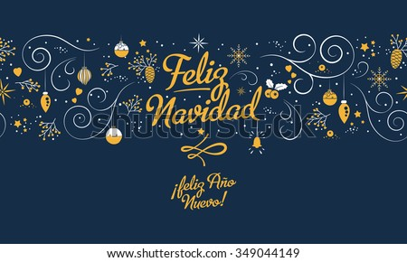 Merry Christmas and happy new year in spanish. Beautiful seamless pattern on blue background with lettering, nature and holiday elements. Feliz Navidad. EPS 10 vector. - stock vector
