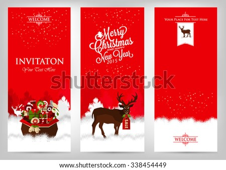 Merry Christmas and Happy New Year. Invitation cards with deer and gifts. - stock vector