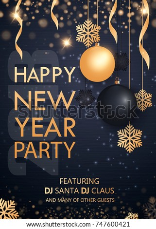 merry christmas and happy new year 2018 invitation to a party gold and black