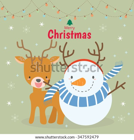 Merry christmas and happy new year. Kids version. - stock vector