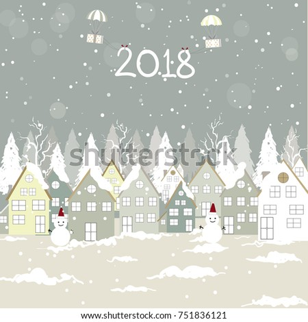 Merry Christmas and Happy New Year Landscape. Vector background