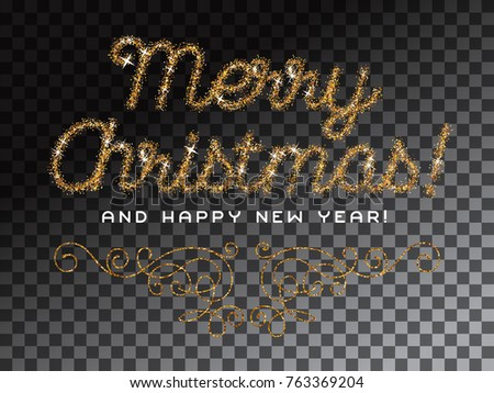 Merry christmas happy new year lettering stock vector 763369204 merry christmas and happy new year lettering gold glitter invitation vector illustration stopboris Images