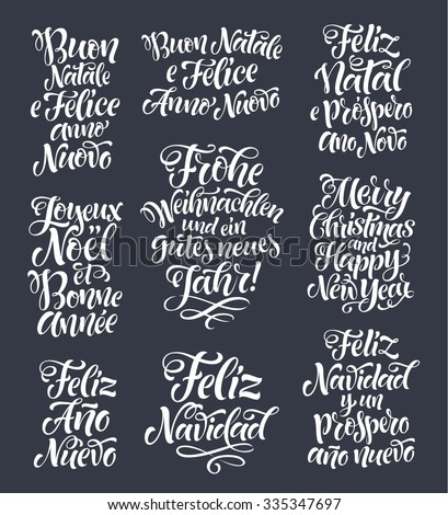 Merry christmas happy new year lettering stock vector royalty free merry christmas and happy new year lettering set in different languages portuguese italian m4hsunfo