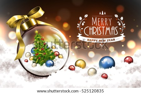 merry christmas and happy new year logo, snowy blur background, with a christmas tree in a transparent glass ball