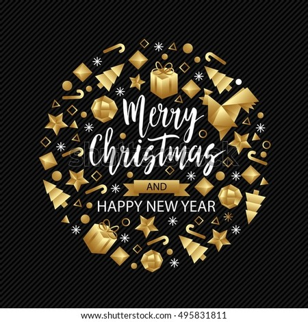 Merry Christmas And Happy New Year Luxury Gold Pattern On Black Background With Rooster