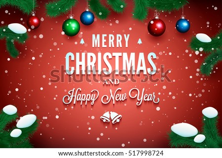 Merry christmas happy new year message stock vector 517998724 merry christmas and happy new year message on the red background with pine branch around m4hsunfo