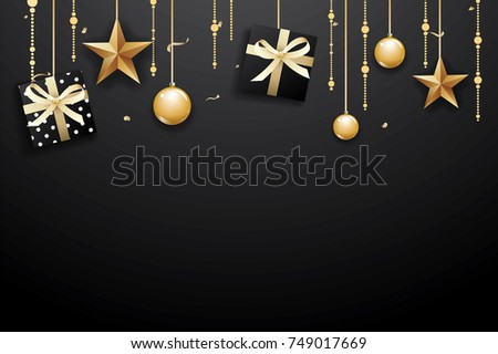 Merry christmas and happy new year on dark background with luxury gold ball, gift box, and star.