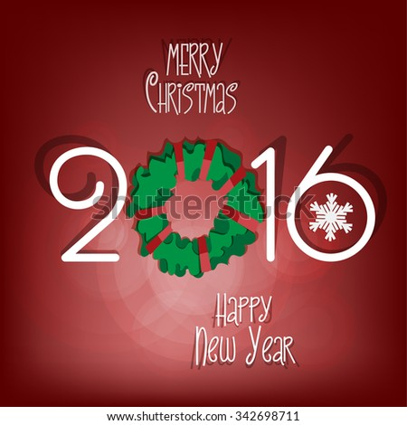 Merry Christmas and Happy New Year 2016 - paper cut out style vector illustration. Red background. EPS 10. - stock vector