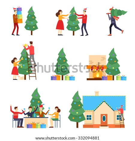 Merry Christmas and Happy New Year. People are preparing for the new year, buying presents, decorating the Christmas tree, celebrate the new year, decorate the house, put the presents under the tree. - stock vector