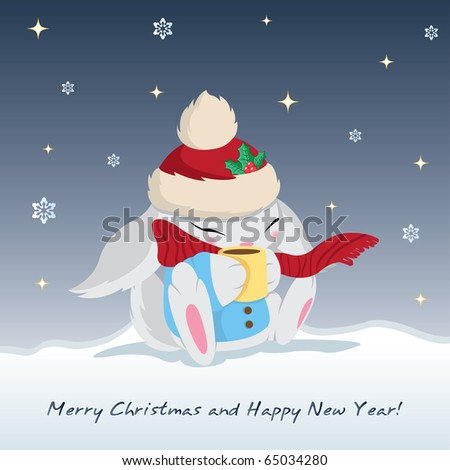 Merry Christmas and Happy New Year postcard with cute rabbit. Cute small rabbit with cup of hot drink. - stock vector