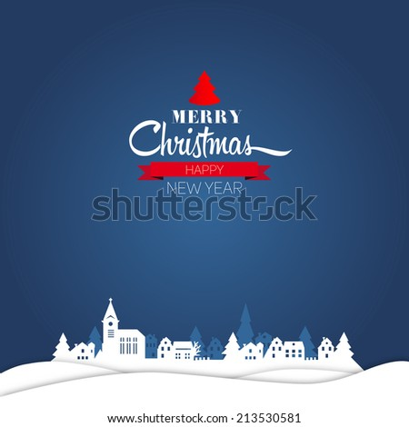 Merry Christmas and happy new year retro greeting card and background, vector - stock vector