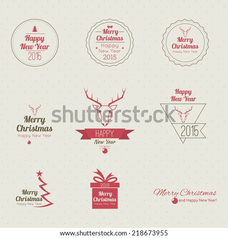 Merry Christmas and happy new year. 2015 Set of calligraphic, typographic elements, frames, vintage labels, seal, tag, banner, sticker. for postcard, invitation, poster. Decoration collection  - stock vector