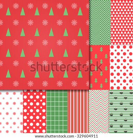 Merry Christmas and Happy New Year!  Set of Classic Christmas patterns with red, green and white colors. Vector illustration.  Big collection of winter holiday backgrounds. - stock vector