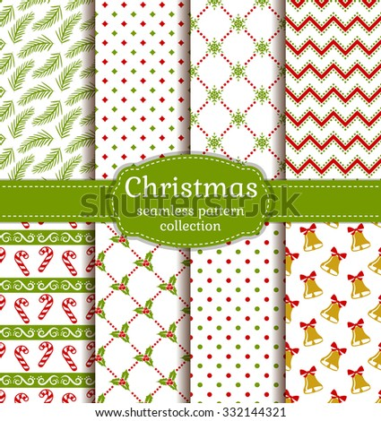 Merry Christmas and Happy New Year! Set of cute seamless backgrounds with traditional holidays symbols: bells, candy cane, holly, snowflakes and suitable abstract patterns. Vector collection. - stock vector