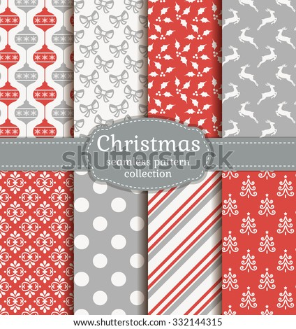 Merry Christmas and Happy New Year! Set of elegant seamless backgrounds with traditional holidays symbols: reindeer, christmas tree, tree ball, holly and suitable abstract patterns. Vector collection. - stock vector