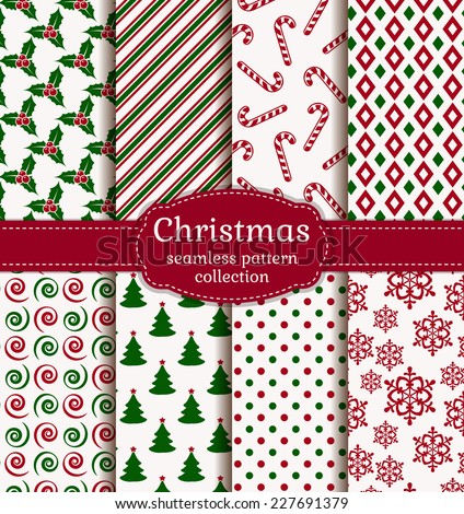 Merry Christmas and Happy New Year! Set of holiday backgrounds. Collection of seamless patterns with white, red and green colors. Vector illustration.  - stock vector