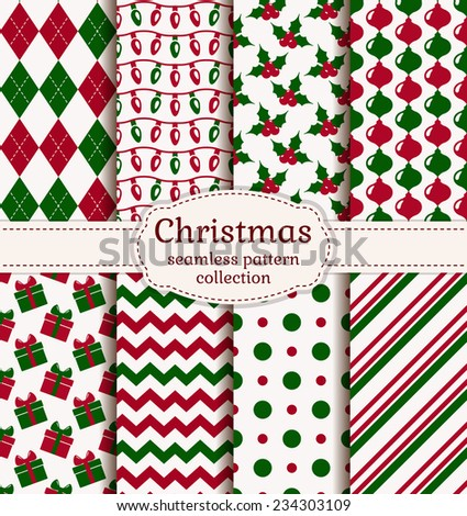 Merry Christmas and Happy New Year! Set of holiday backgrounds. Collection of seamless patterns with red, green and white colors. Vector illustration.