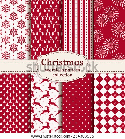 Merry Christmas and Happy New Year! Set of  holiday backgrounds. Collection of seamless patterns with red and white colors. Vector illustration. - stock vector